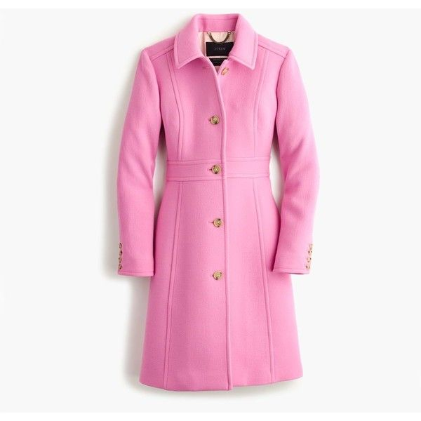 J.Crew Petite Double-Cloth Lady Day Coat With Thinsulate ($490) ❤ liked on Polyvore featuring outerwear, coats, petite, fitted coat, j.crew, pink coat, j crew coat and petite coats