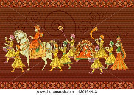 ilustração em vetor fácil de editar de casamento tradicional indiano barati