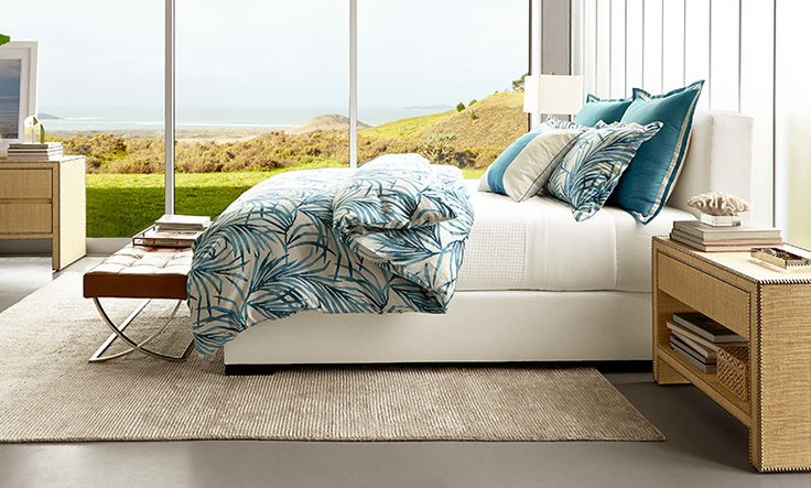 Beach Chic Master Bedroom by Williams-Sonoma Home with Robertson Bed & Headboard
