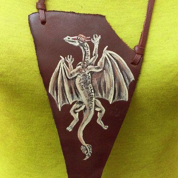 Dragon leather necklace, fantasy dragon genuine leather necklace, renaissance dragon necklace, medieval drake pendant
