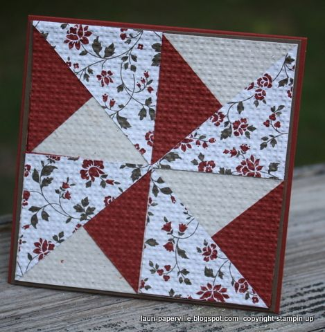 handmade quilt block card from Paperville ... paper pieces embedded with small size embossing folder texture ...