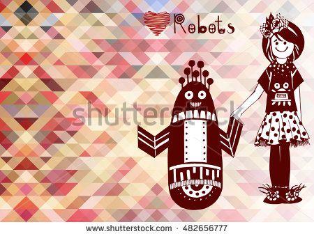 Векторные иллюстрации с высокой степенью детализации. Красочные геометрические фоне EPS10. Чернила рисованной дизайн. Маленькая девочка и робот держатся за руки.