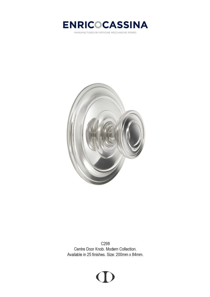 centre door knob, xx century, design, large, modern, polished chrome