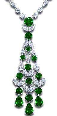 GABRIELLE'S AMAZING FANTASY CLOSET | Emerald & Diamond Chandelier Necklace - Beautiful