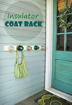 insulator coat rack, crafts, home decor, repurposing upcycling
