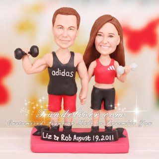 Weightlifter Weight Lifting Wedding Cake Toppers