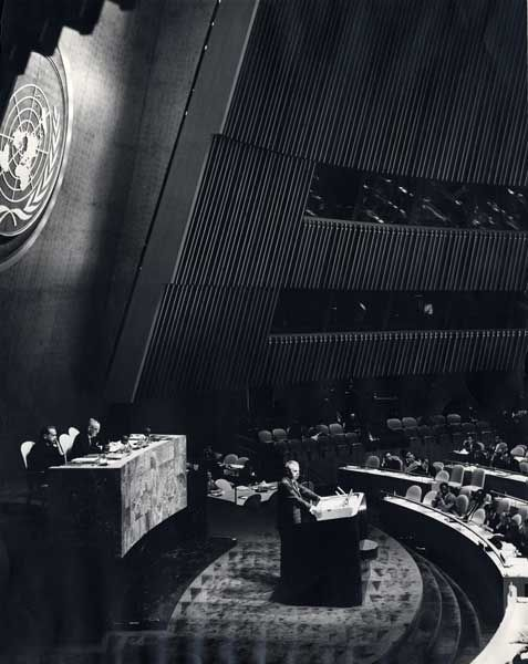 John Diefenbaker speaking at the UN.