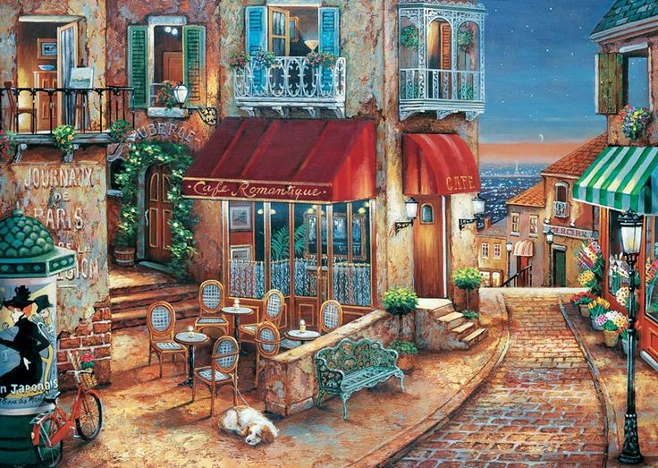 An Evening for Romance by John O'Brien ~ Parisian outdoor cafe overlooking a city