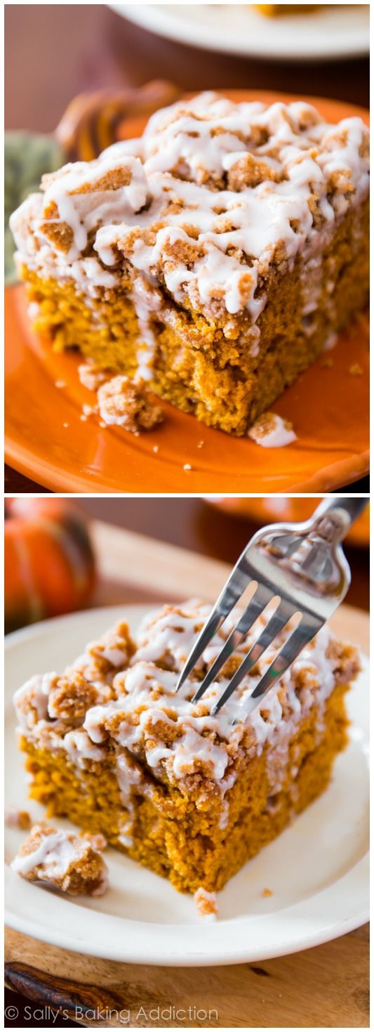 Iced Pumpkin Coffee Cake - super moist, bursting with fall spices, and easy to make! Recipe by sallysbakingaddiction.com