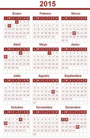CALENDARIO LABORAL 2015. por comunidades