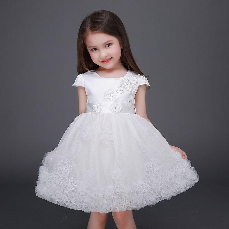 2016 High Quality Girls Wedding Dress Gown Bridesmaid Child White Flower Girls Wedding Dress Party Dresses For Girls 3-8 9 10 12