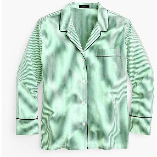 J.Crew Striped Pajama Shirt ($66) ❤ liked on Polyvore featuring intimates, sleepwear, pajamas, striped pjs, pajama tops, cotton sleepwear, striped pajamas and cotton pyjamas