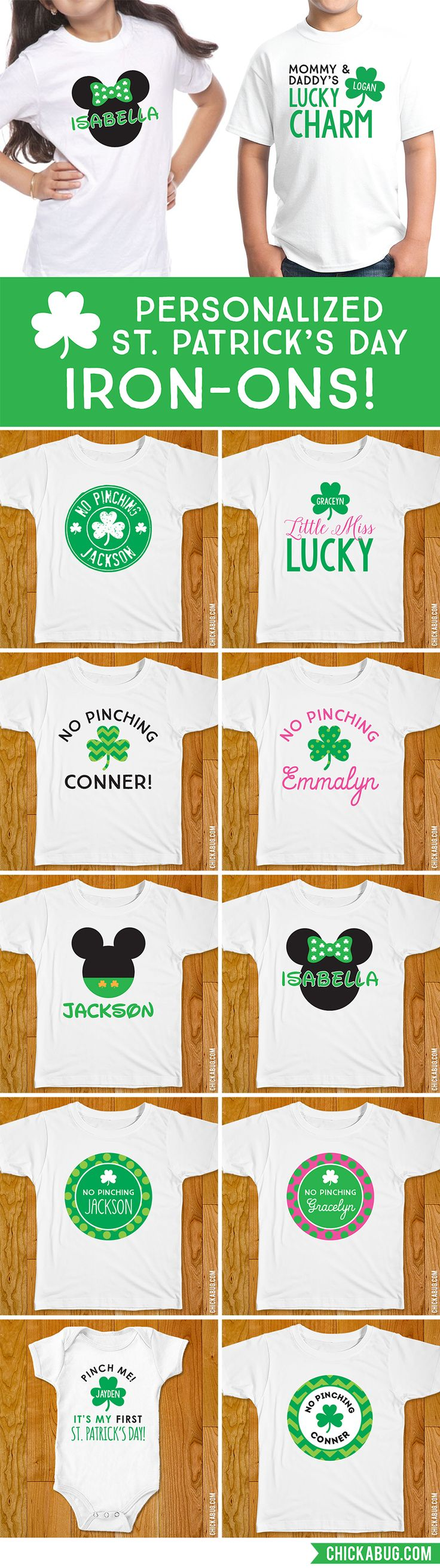 St. Patrick's Day iron-ons! They come in t-shirt AND onesie size. Printed and shipped to you. LOVE THESE!