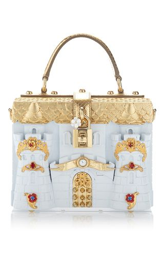 This **Dolce and Gabanna** box bag is rendered in pvc and features embellishments, detachable shoulder strap and top handle.