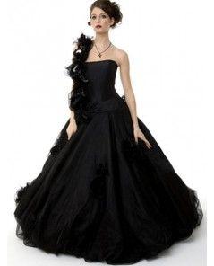 Black Strapless Gothic Wedding Dress - DevilInspired.co.uk