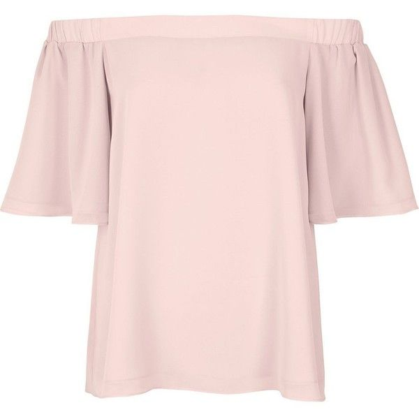 River Island Light pink bardot top (£25) ❤ liked on Polyvore featuring tops, bardot / cold shoulder tops, pink, women, pink tops, flounce top, river island, flutter-sleeve top and short sleeve ruffle top