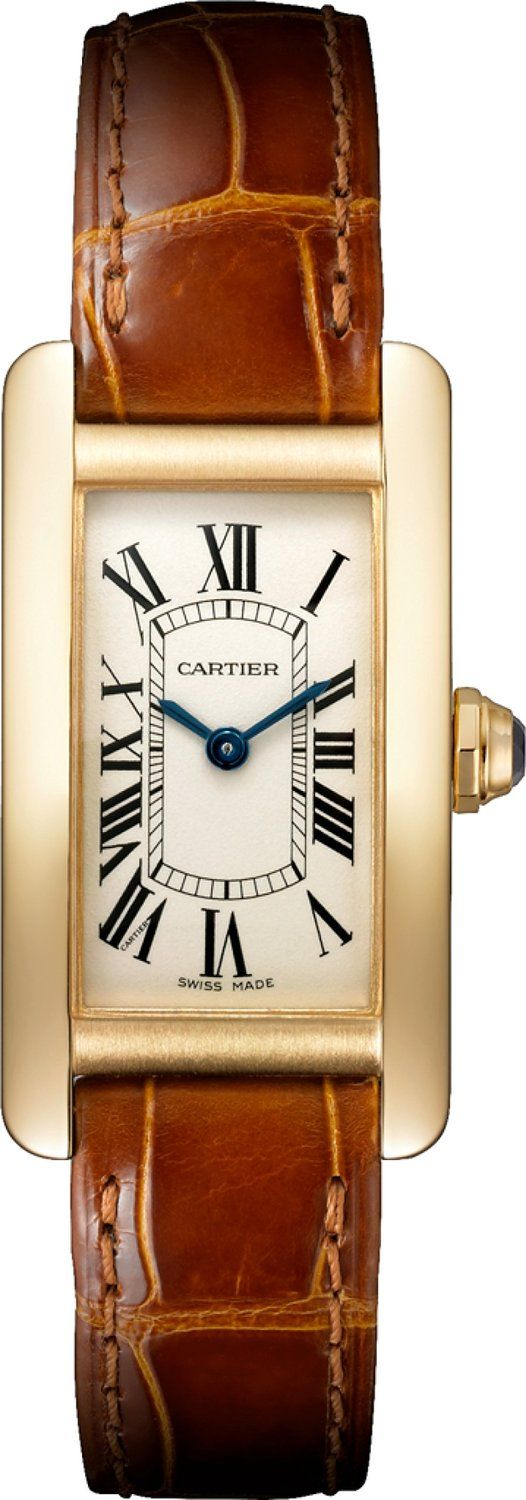 Cartier Tank Americaine 18kt Yellow Gold Ladies Watch W2601556 *** Click on the watch for additional details.