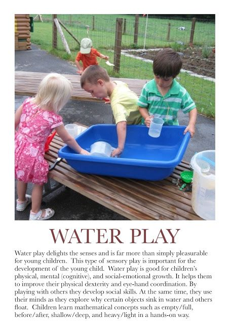 Water Play Poster. For more Play pins visit: http://pinterest.com/kinderooacademy/learning-through-play/ ≈ ≈