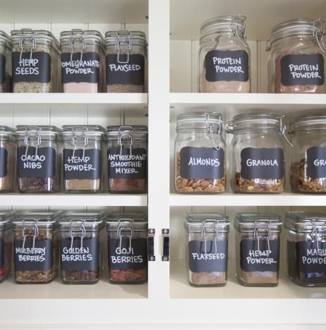 Chalkboard labeled jars for the ultimate smoothie station! Organized by NEAT Method