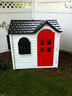 super cute plastic playhouse makeover... you can make it match your actual house's paint colors! no more plastic pastel eyesore!