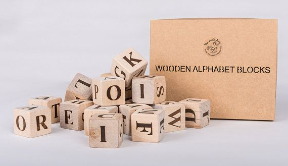 Set of wooden handmade alphabet blocks ABC by thewoodenhorse, $16.00