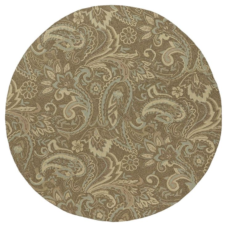 Bombay Home Indoor/Outdoor Fiesta Brown Paisley Rug (5'9 Round) - 5'9 (5'9 x 5'9 Round) (Synthetic, Floral)