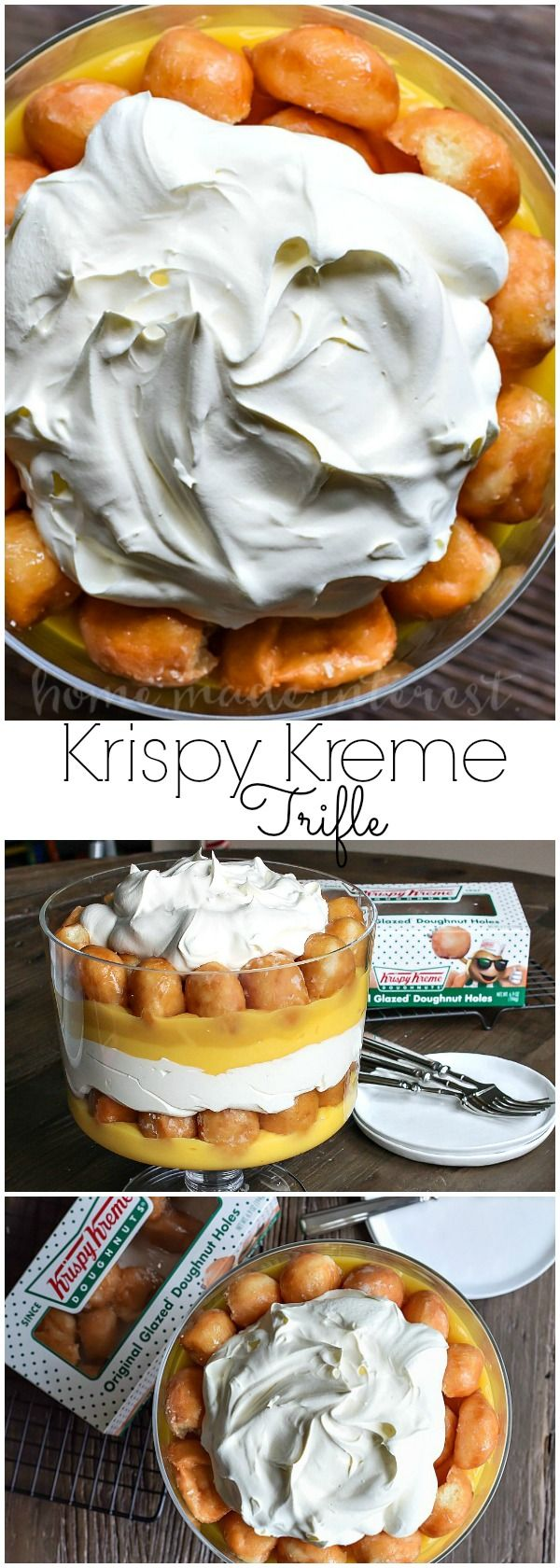 This decadent dessert recipe uses Krispy Kreme doughnuts to make an easy trifle recipe with layers of whipped cream, vanilla pudding and donut holes.