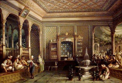 Istanbul, a coffehouse in Tophane - Mıgırdıç Civanyan  from Thomas Allom