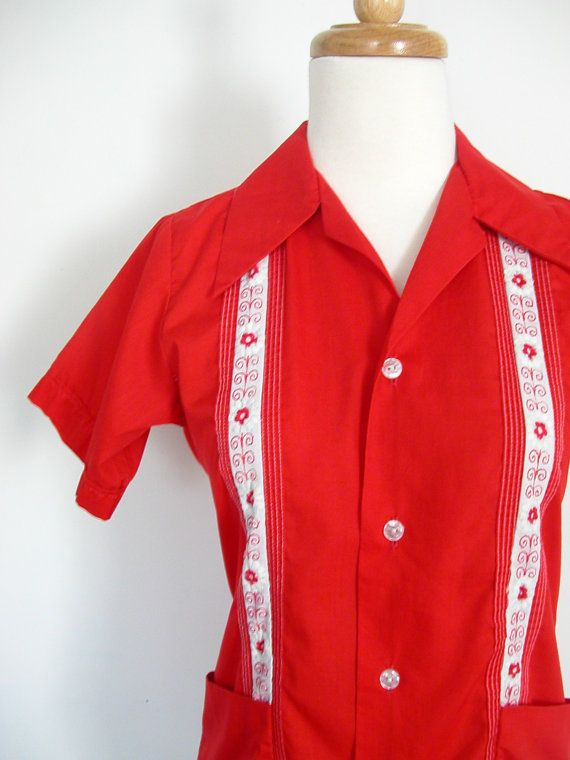 1950s Mens Red Rayon Long Sleeve Shirt Sz L Vintage Retro Golden Gate TxXHvCNzqE