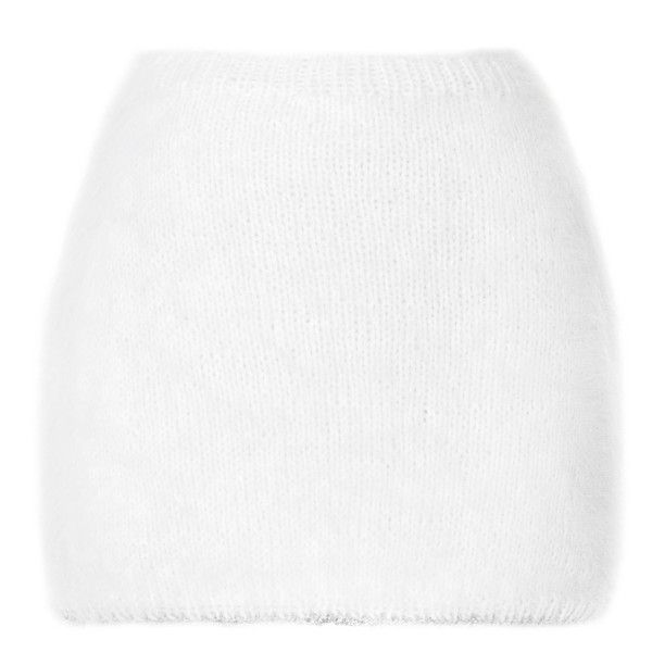 Rodarte White Angora Mini Skirt (262.545 HUF) ❤ liked on Polyvore featuring skirts, mini skirts, bottoms, pull on skirt, mini skirt, short skirts, short mini skirts and rodarte