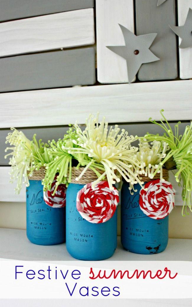 Festive Summer Mason Jar Vases  -  Oh My! Creative