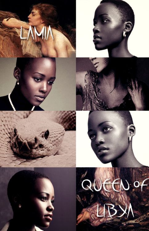 GREEK MYTHOLOGY MEME ® LOVERS OF ZEUS 8/9 ∟Lupita Nyong'o as L A M I A  Lamia was a beautiful queen of Libya who became a child-eating daemon. In the myth, Lamia is a mistress of Zeus, causing his jealous wife, Hera, to kill all of Lamia's children (except for Scylla, who is herself cursed), and transforms her into a monster that hunts and devours the children of others.