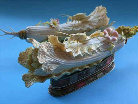 A Pair Of Chinese Ivory Carved Grasshoppers On Cabbage