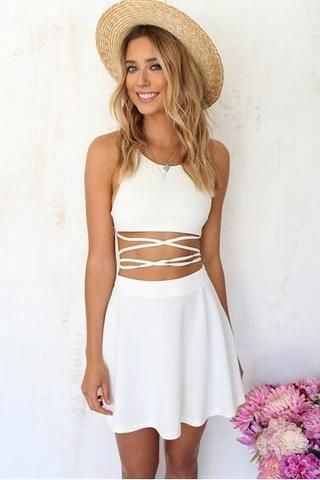 Sexy Halter Neck Solid color two-piece dress