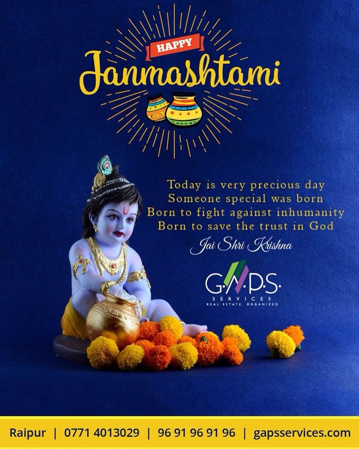 #GAPS #Services wishes you and your family A Very Happy #Janmashtami..  For #Best #Realestate #Deals in #Raipur #click www.gapsservices.com or #call 9691969196