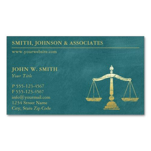 Luxury Turcuoise Lawyer Scales of Justice Magnetic Business Card | Zazzle.com
