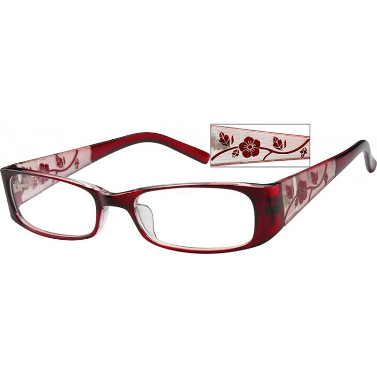 This medium, full-rim plastic frame in red has a transparent red front, and a reversed out temple with a design of brown...Price - $12.95-FAUVwAqM
