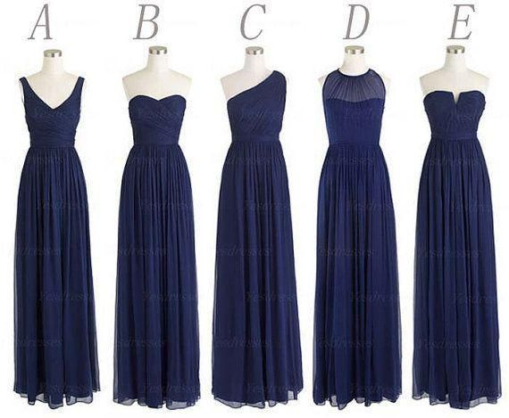 2015 Custom Made Long Bridesmaid Dresses A Line Back Zipper Floor Length Navy Blue Chiffon Ruched Cheap Prom Evening Party Dress from Fantasy_bride,$73.82 | DHgate.com