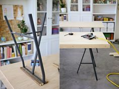 DIY Table with plywood top and IKEA Lerberg trestle legs More