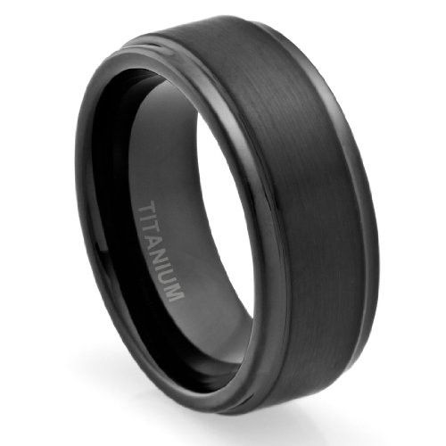 8MM Titanium Promise Engagement Rings for Men | Wedding Bands for Him | Black Plated | Brushed Top [Size 11]