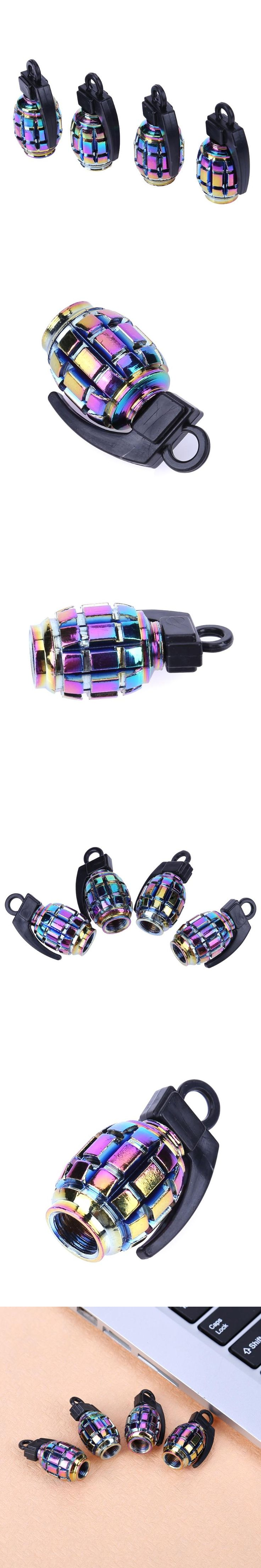 4pcs/set Rainbow Color Car Tire Aluminum Dust Caps Covers Motorcycle Dustproof Air Caps for Schrader Valves Car Styling
