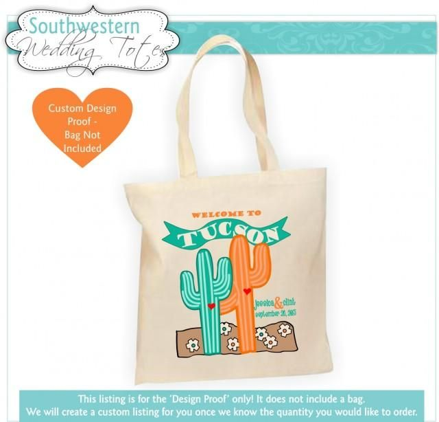 Our Southwestern style Welcome Bag is so much fun! It features a Cactus Couple, destination city, names and wedding date. We will personalized this with your wedding colors - choose 2 or 3 from the chart above. What a great way to welcome your wedding guest as well as inform. Stuff it with an itinerary, city map, list of fun things to do, sun screen, water bottle, candy, thank you card, a pair of flip flops...whatever you can think of!***This listing is for a digital proof (bag not…