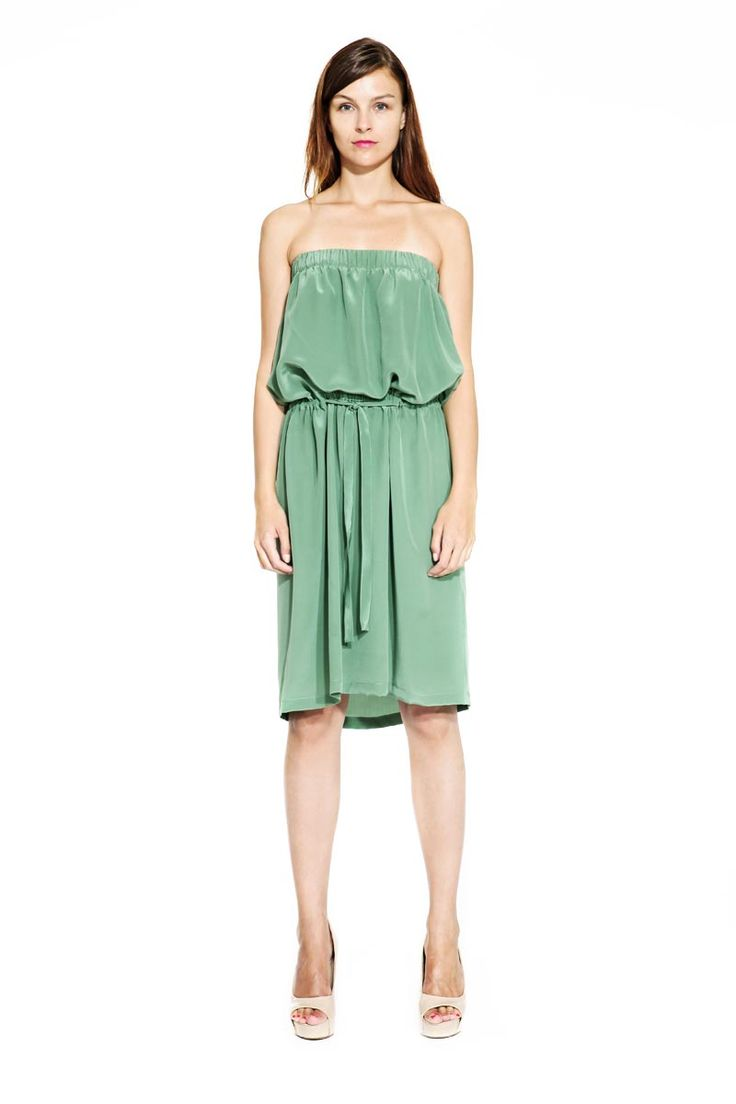 IMRECZEOVA SS14 olive green silk dress