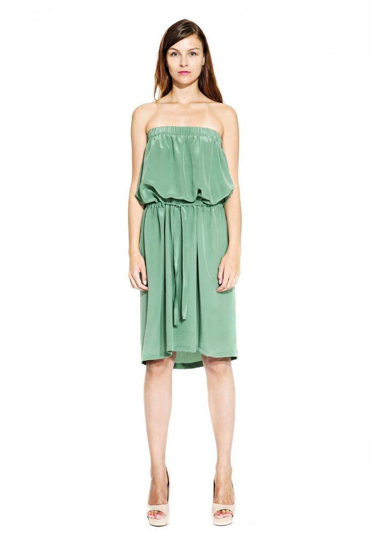 IMRECZEOVA SS14 olive green silk dress