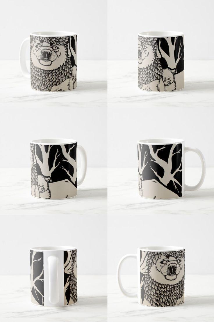 """Blue Veins"" Black and white illustrated dog couple Coffee Mug"