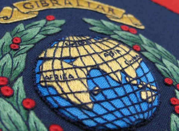 Globe and Laurel – The Bluebird Embroidery Company