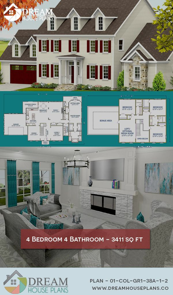 Dream House Plans Simple Yet Luxury Colonial 4 Bedroom 3411 Sq Ft House Plan With Basement O Craftsman House Plans Dream House Plans Southern House Plans