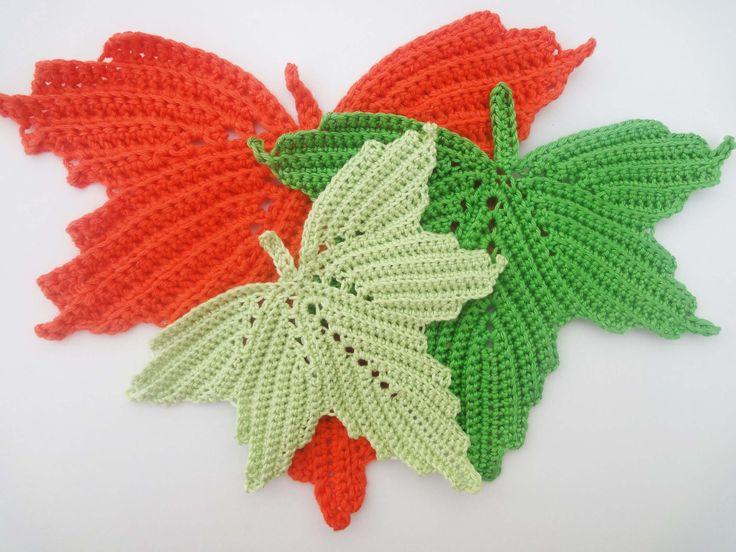 Схема вязания кленового листа Scheme knitting maple leaf http://natalikorneeva.blogspot.com/2014/08/1-maple-leaf-crochet-part-1.html Кленовый лист Часть 1 Th...