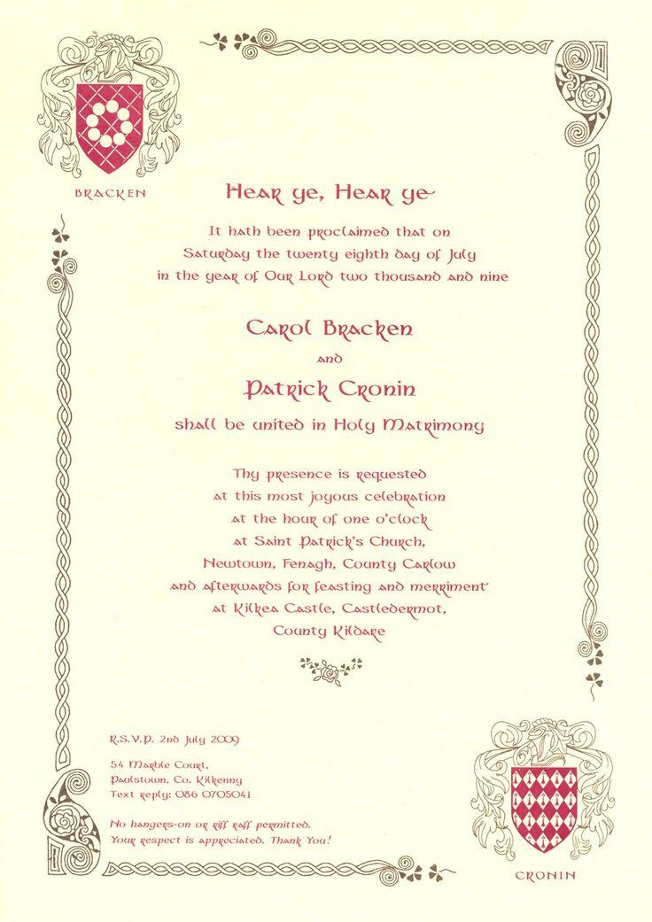 medieval wedding invitations wording