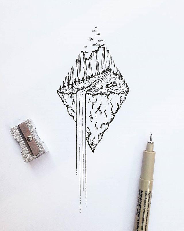 Waterfall Nature Dotwork tattoo idea